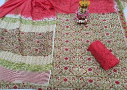 Cherry Red And Champagne cotton dupatta suit set