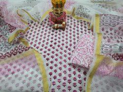 Floral Print Cotton Suit Kota Dupatta