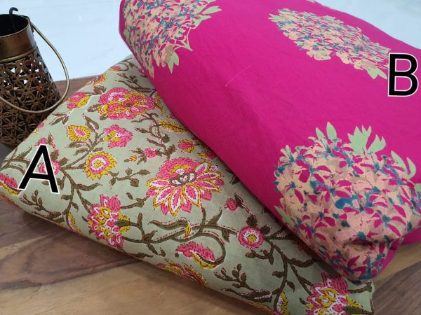 Exclusive Magenta rose And Emerald Cotton running material set