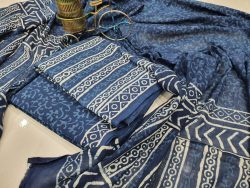 Cobalt blue mulmul dupatta suit with Salwar Kameez set