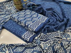 Persian blue mulmul dupatta suit with Salwar Kameez set