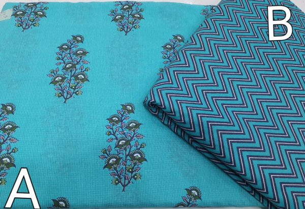 Natural Cyan Mugal print cotton dress materiel