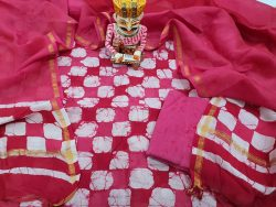Pink And White Chanderi Suit