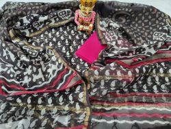 Pink Black Chanderi Suit