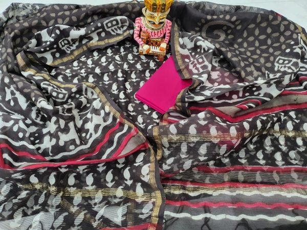Bagru print pink and black chanderi suit set