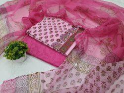 Pink Cotton Suit Kota Dupatta Floral Print (1)