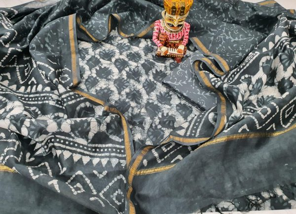 Slate gray Unstitched chanderi suit for women