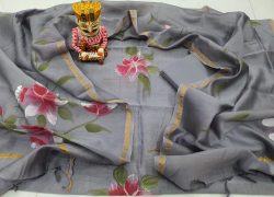 Traditional gray chanderi suit set