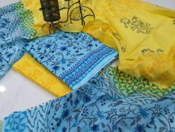 Yellow And Azure Blue Floral Print