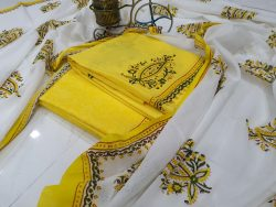 Yellow And White Cotton Dupatta Suit