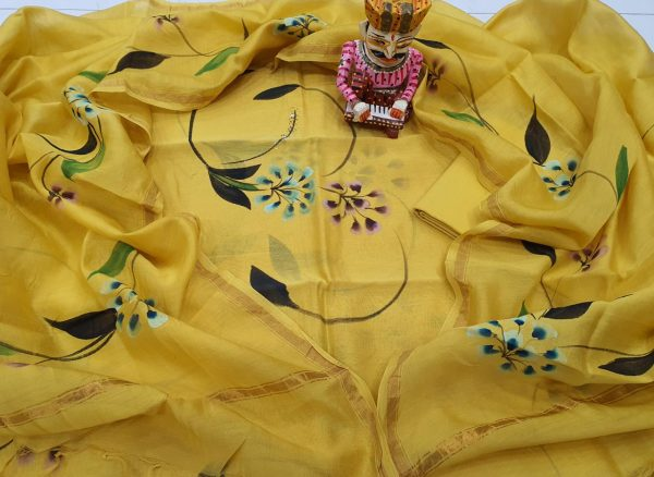 Natural Hand painted Yellow chanderi suit set