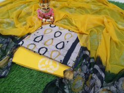 Yellow and White Traditional Cotton chudhidar set
