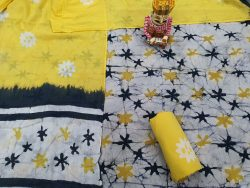 White and Yellow mulmul dupatta suit with Salwar Kameez set