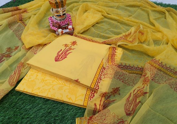 Yellow Pure Cotton chudhidar set
