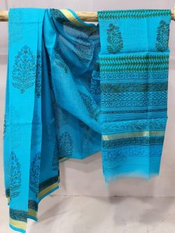 Beautiful Azure blue kota doria saree With blouse