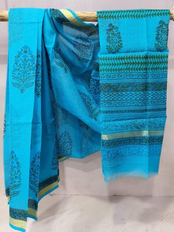Beautiful Azure blue kota doria saree With blouse