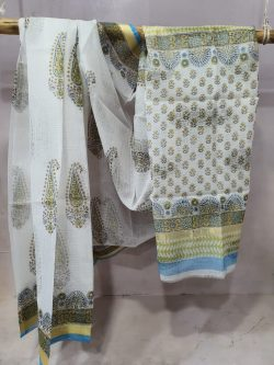 Jaipuri White kota doria saree for women