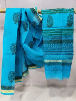 Superior quality Azure blue kota doria saree With blouse