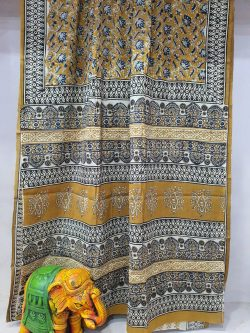 Bronze Pure Cotton mulmul saree with blouse