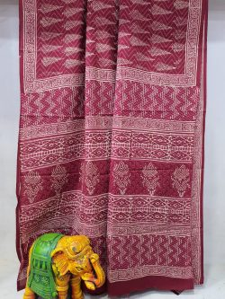 Raspberry Rose Pure Cotton mulmul saree with blouse