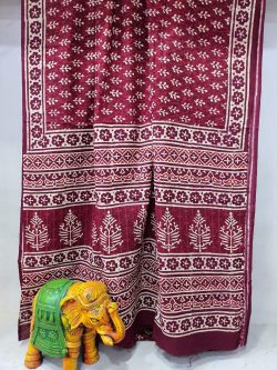 Raspberry Radiance Pure Cotton mulmul saree with blouse