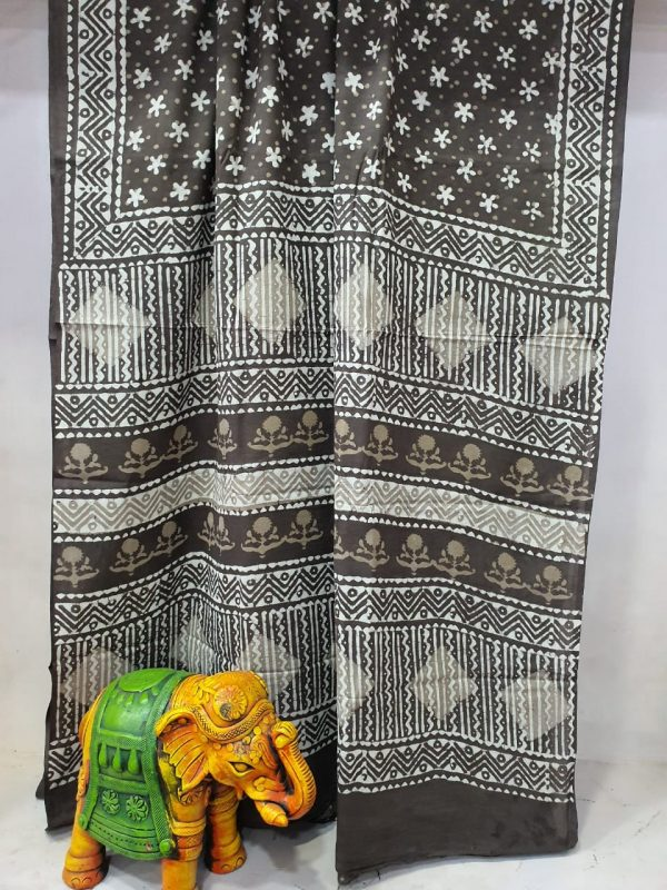Black Taupe Pure Cotton mulmul saree with blouse