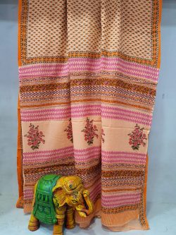 beautiful Apricot And Champagne cotton mulmul saree With blouse