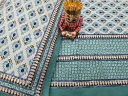 Cerulean and white jaipuri bedsheet with pillow cover