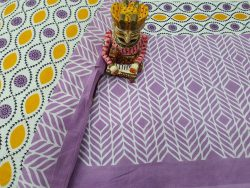 Lavender And white bagru print bedsheet with pillow cover