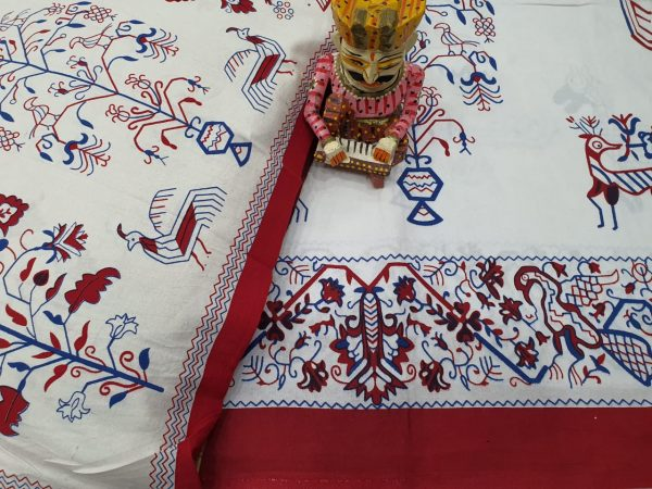Red and White Natural bedsheet with pillow cover