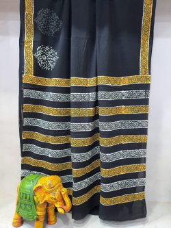 Black Pure Cotton mulmul saree with blouse