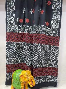 Exclusive Black cotton mulmul saree