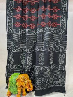 Superior quality Black cotton mulmul saree