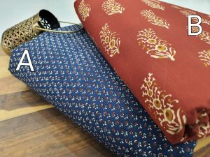 blue And Sangriaa pigment print pure cotton running material set