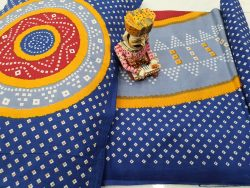blue Pure Cotton double bedsheet with two pillow cover