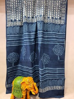 Traditional Indigo blue Cotton mulmul saree with blouse
