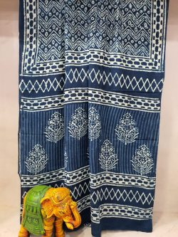 Traditional Blue Indigo Dabu print Pure Cotton mulmul saree