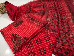 Red crimson bagru print Chiffon dupatta cotton salwar suit set