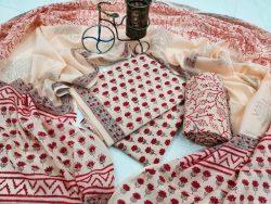 Cream cotton dupatta set for ladies