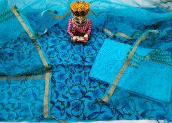 Azure blue floral print organza dupatta suit set