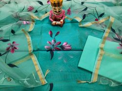 Turquoise Blue chanderi silk suit with organza dupatta