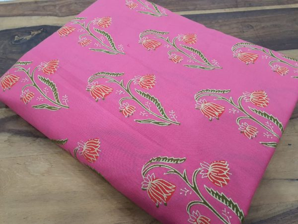 Pink floral mugal print cotton dress material
