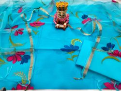 Azure blue floral print chanderi silk suit with organza dupatta