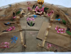 Floral print Brown chanderi silk suit with organza dupatta