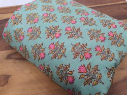 Cyan floral print pure cotton running material set