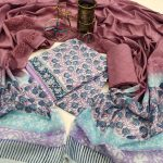 blush and baby blue cotton dupatta set for ladies