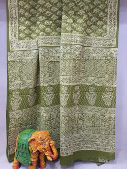 Green Cotton mulmul saree with blouse