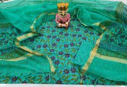 Green floral print Cotton suit kota dupatta set