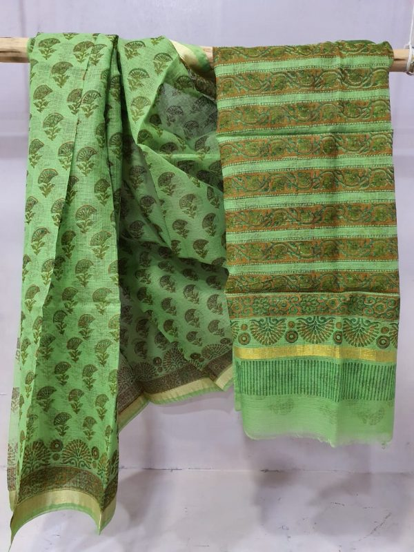 Natural green kota doria saree With blouse for women