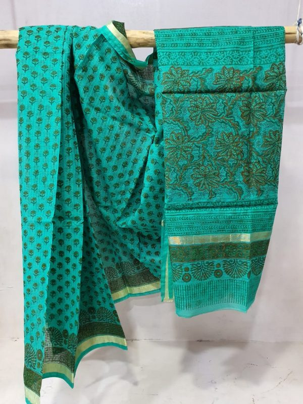 Jungle green kota doria saree with blouse
